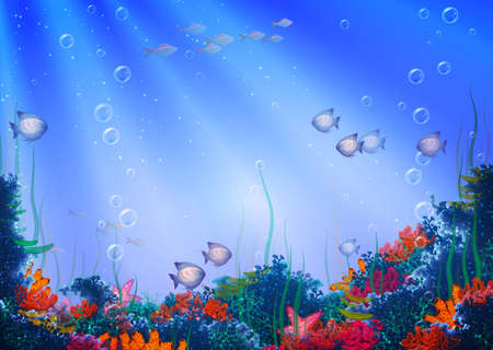 Vector illustration of underwater cave for your backdrop Vector