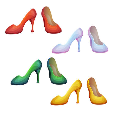 Vector set of shoes in different colors
