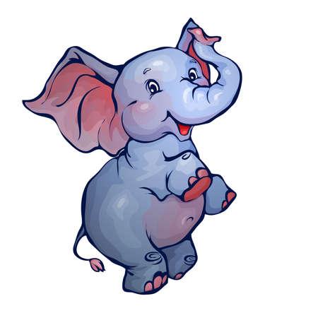Vector illustratie van de olifant in cartoon-stijl op transparante achtergrond