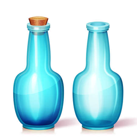 phial: Vector illustration of glass flask. Isolated. Can be used on any background