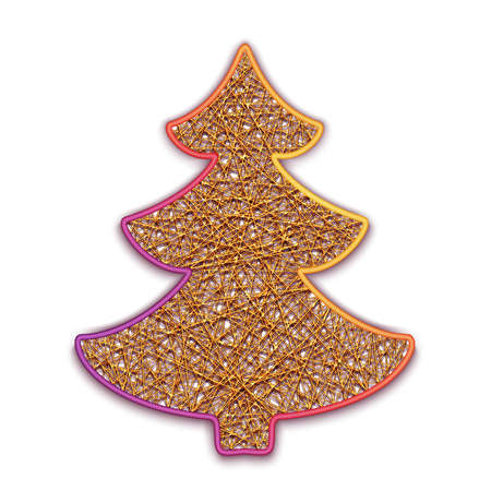 firtree: illustration of fir-tree embroidered on cardboard.