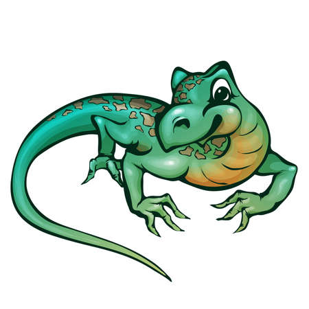 chameleon lizard: Vector illustration of lizard in cartoon style on transparent background