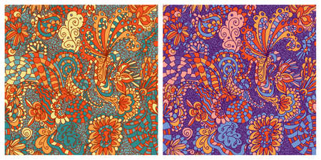 tatting: Vector set of seamless floral background patterns