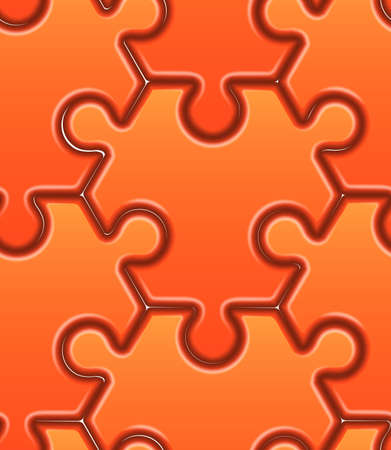 hexahedron: Vector seamless pattern with orange hexahedron puzzles. Illustration