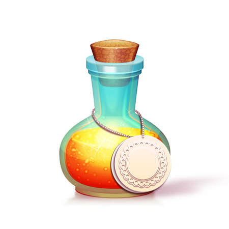 Vector illustration of glass flask with potion. Vector