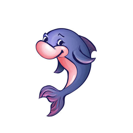 porpoise: Vector illustration of dolphin in cartoon style on transparent background