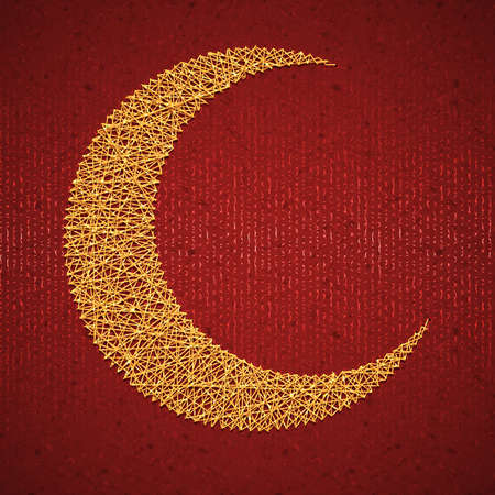 Moon on red paper background for holy month of Muslim community Ramadan Kareem. Vector illustration.