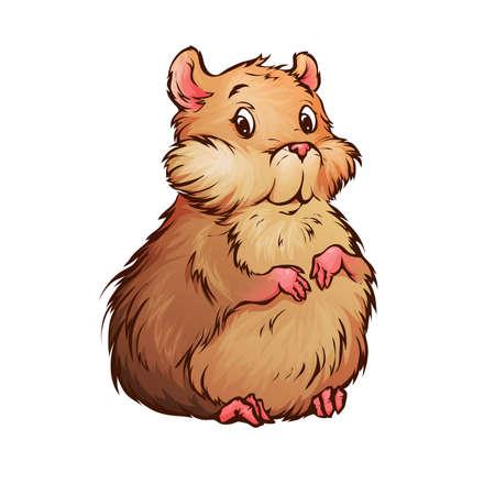 Vector illustratie van de hamster in cartoon-stijl
