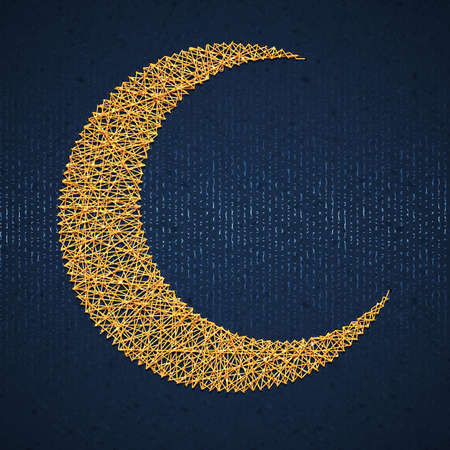 crescent: Moon on blue paper background for holy month of muslim community Ramadan Kareem. Vector illustration.