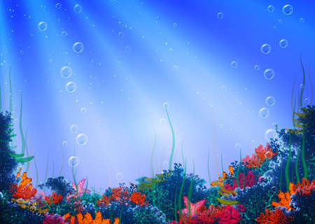 sea plant: Vector illustration of underwater cave for your backdrop