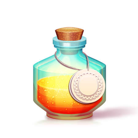 phial: Vector illustration of glass flask with potion.
