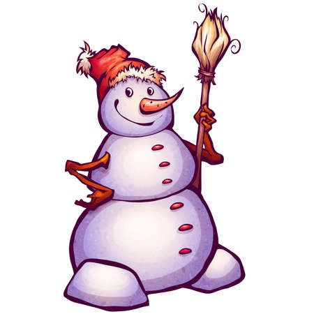 carrot nose: Vector illustration of funny snowman with broom.