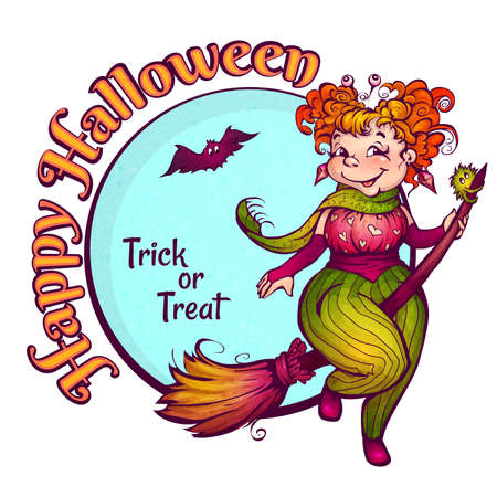 Invitation to Halloween party with fun witch on a broom. Vector