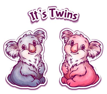 Vector illustration of koala twins in cartoon style. Vector