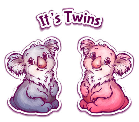 twin sister: Vector illustration of koala twins in cartoon style.