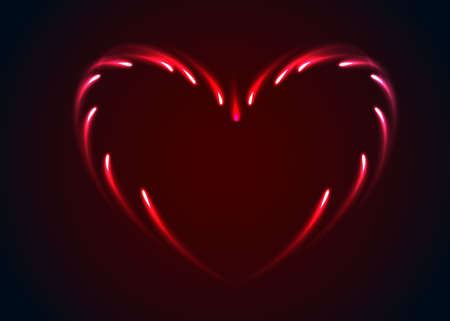 Vector heart  with glow effect. Abstract illustration Vector