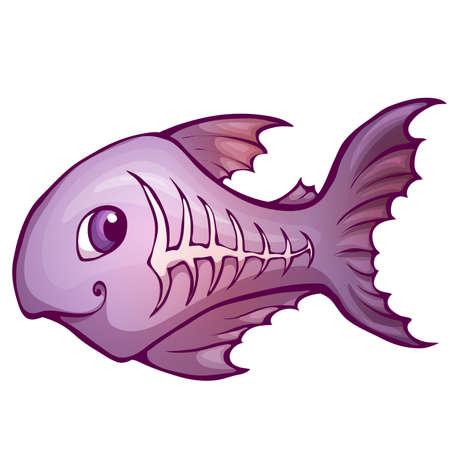 liquid x: Vector illustration of x-ray fish in cartoon style.