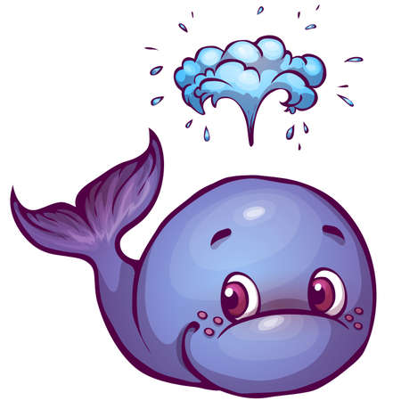 illustration of whale in cartoon style.