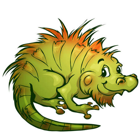 brightly colored: illustration of iguana in cartoon style.