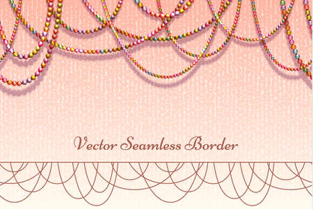Vector abstract background with colored beads for your presentation. Horisontal seamless pattern