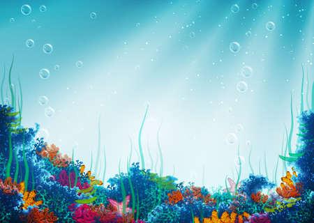 pintura rupestre: Ilustración del vector de la cueva bajo el agua durante su telón de fondo Vectores