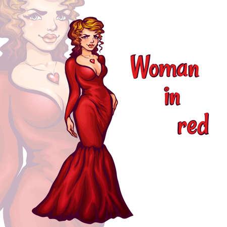 Vector illustration of women in elegant red dress. Vector