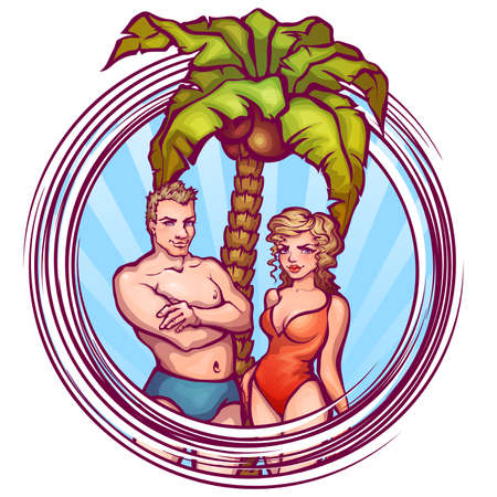 Vector illustration of man and women in swimsuit.