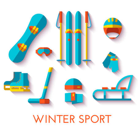 Vector icon set of winter sport. Flat design.