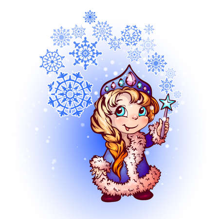 snow maiden: Vector Christmas illustration of funny Snow-Maiden on white background. Illustration