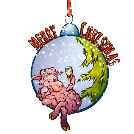 furtree: Vector illustration of fur-tree toy with funny sheep.