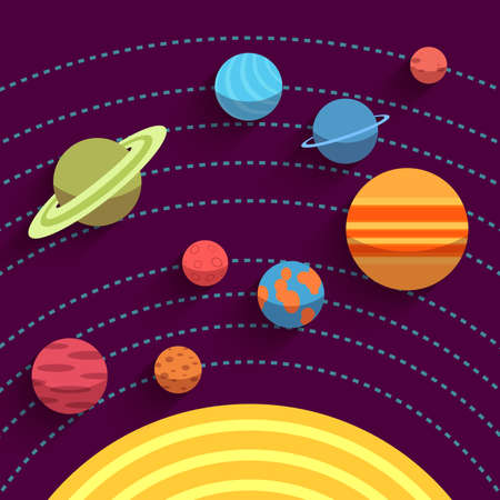 Solar system and space objects.  Vector