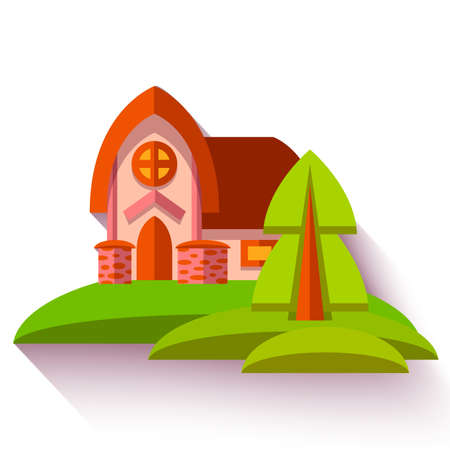 Vector illustration with cute house in flat style. Vector