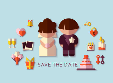 Vector save the date set. Flat design. Vector
