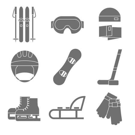 Vector icon set of winter sport. Flat design. Vector