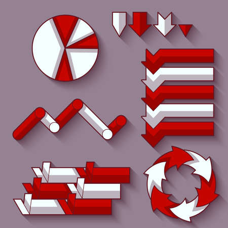 bicolor: Vector set of arrows and diagram for infographic.