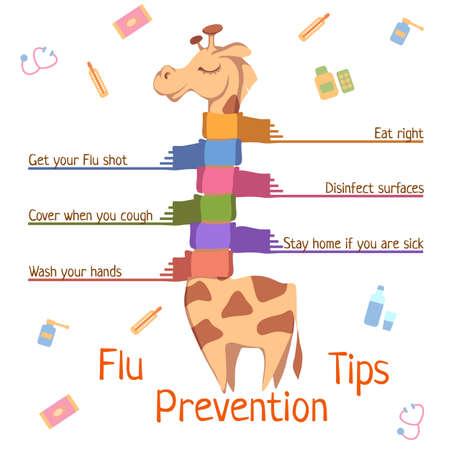 tippek: Influenza megelőzése tippek. Vektoros illusztráció zsiráf. Illusztráció