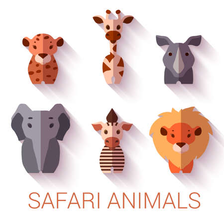 Vector set of six Safari animals on white background. Vector