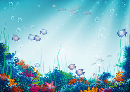 illustration of underwater cave Vector