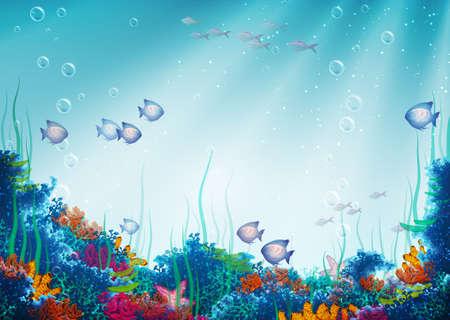 illustration of underwater cave Çizim