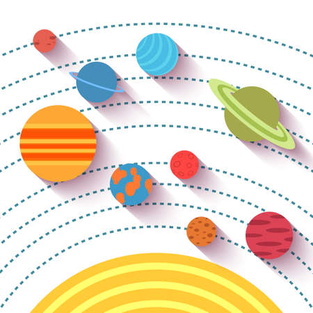 solar system: Solar system and space objects. Vector set in flat style. Illustration