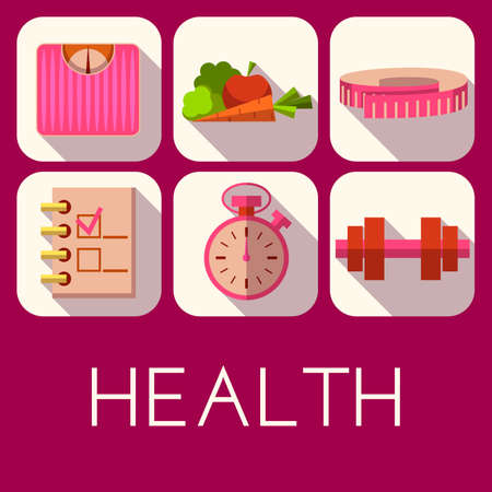 diet plan: Vector set of health icon in flat style.