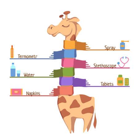 flue: Flu Prevention Tips. Vector illustration with giraffe. Illustration