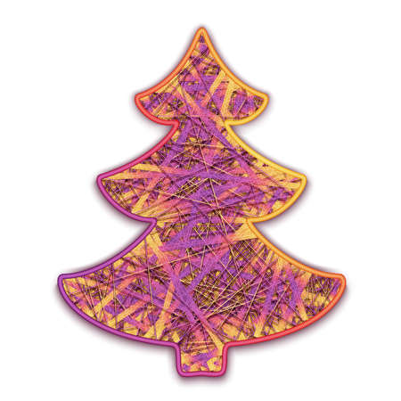 christmastree: Vector illustration of fir-tree embroidered on cardboard.
