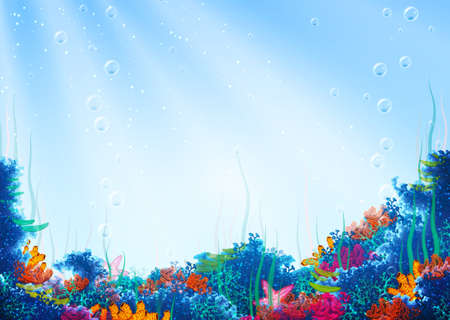 underwater light: Vector illustration of underwater cave for your backdrop