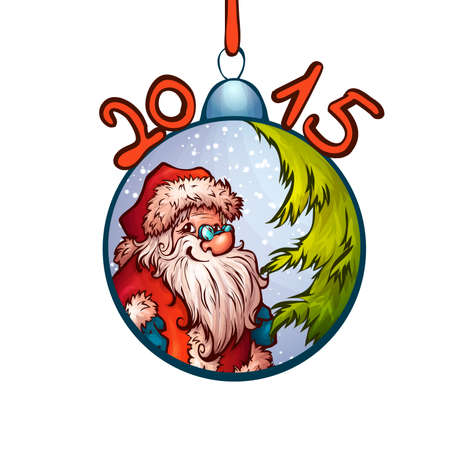 furtree: Vector illustration of fur-tree toy with funny Santa Claus.