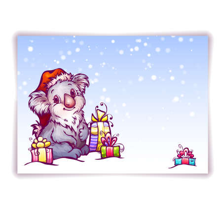 Vector illustration of hare in Christmas hat.