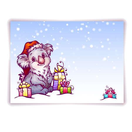 Vector illustration of hare in Christmas hat. Zdjęcie Seryjne - 33637022