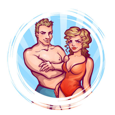 swagger: Vector illustration of man and women in swimsuit.