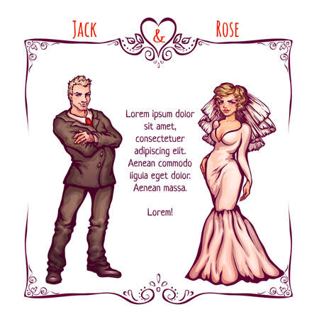 Vector illustration of elegant wedding invintantion with bride and groom. Vector