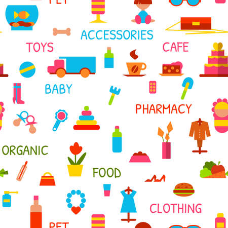 beanbag: Vector seamless pattern with consumer goods on white background